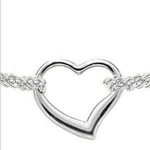 14Kt white gold anklet heart  bracelet ❤️